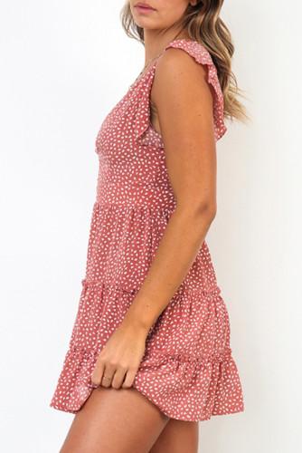 Pink Printed Sleeveless Tiered Mini Dress LC224403-10