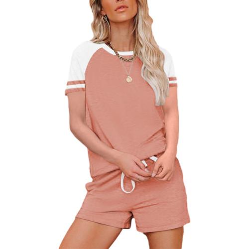 Pink Raglan Sleeve Top with Shorts Lounge Set TQK710323-10