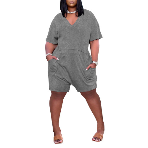 Dark Gray Loose V Neck Romper with Pockets TQK550230-26