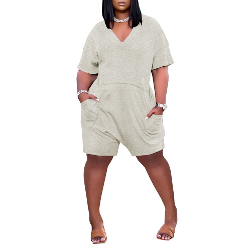 Light Gray Loose V Neck Romper with Pockets TQK550230-25