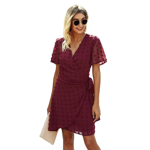 Wine Red Swiss Dot Front Wrap V Neck Mini Dress TQK310549-23