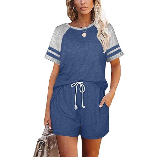 Blue Stripes Raglan Sleeve Tee and Shorts Lounge Set TQK710324-5