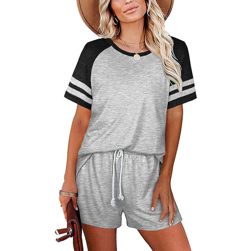 Light Gray Stripes Raglan Sleeve Tee and Shorts Lounge Set TQK710324-25