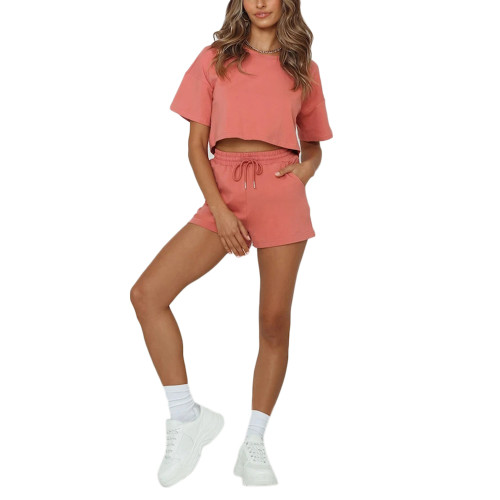 Watermelon Red Short Sleeve Crop Top with Shorts Lounge Set TQK710327-63