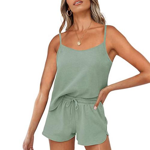 Pea Green Cotton Blend Sling Tank and Shorts Lounge Set TQK710325-64