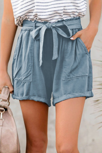 Sewn Cuffed Hemline Pocketed Cargo Shorts with Belt LC771745-11