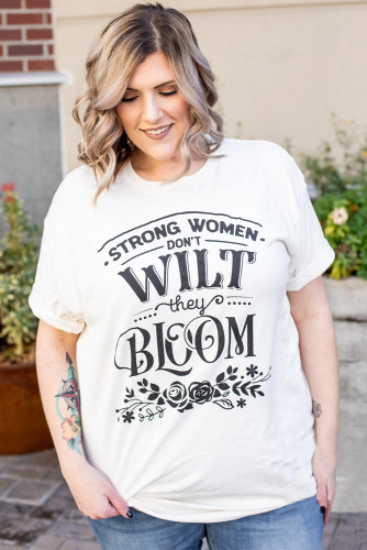 Strong Women Bloom Grapic Plus Size Tee LC2522666-1