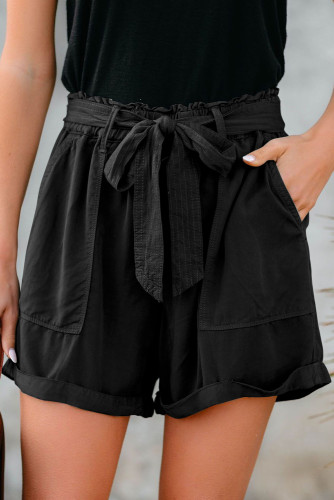 Black Sewn Cuffed Hemline Pocketed Cargo Shorts with Belt LC771745-2
