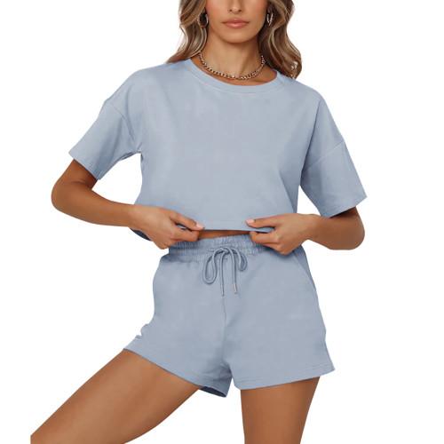 Light Blue Short Sleeve Crop Top with Shorts Lounge Set TQK710327-30