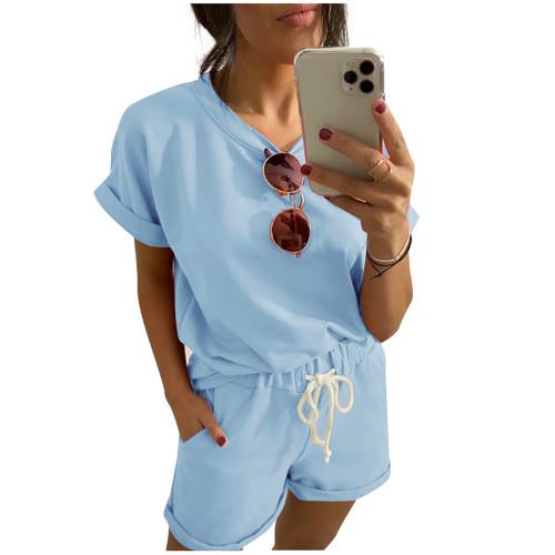 Light Blue Cotton Blend Roll Up Sleeves Lounge Shorts Set TQK710328-30