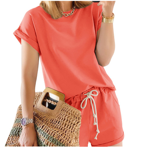 Tangerine Cotton Blend Roll Up Sleeves Lounge Shorts Set TQK710328-55