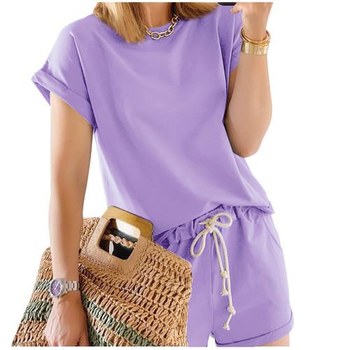 Light Purple Cotton Blend Roll Up Sleeves Lounge Shorts Set TQK710328-38