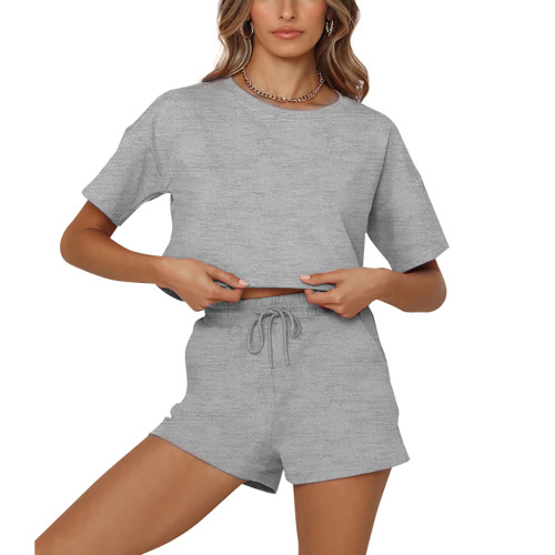 Gray Short Sleeve Crop Top with Shorts Lounge Set TQK710327-11