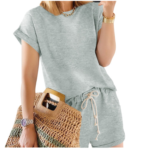 Gray Cotton Blend Roll Up Sleeves Lounge Shorts Set TQK710328-11