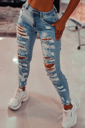 Vintage Washed Ripped Slits Skinny Jeans LC782088-4
