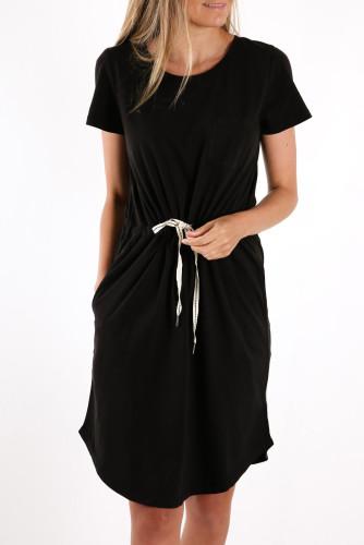 Black Pocketed Drawstring Waist Mini Dress LC224316-2