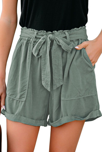 Green Sewn Cuffed Hemline Pocketed Cargo Shorts with Belt LC771745-9