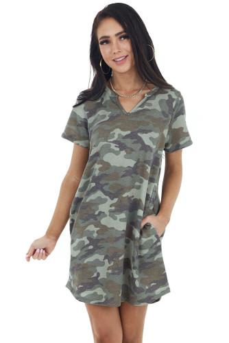 Army Green Camo Print Short Sleeve V Neck Knit Mini Dress LC224906-9