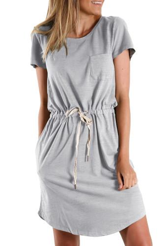 Gray Pocketed Drawstring Waist Mini Dress LC224316-11