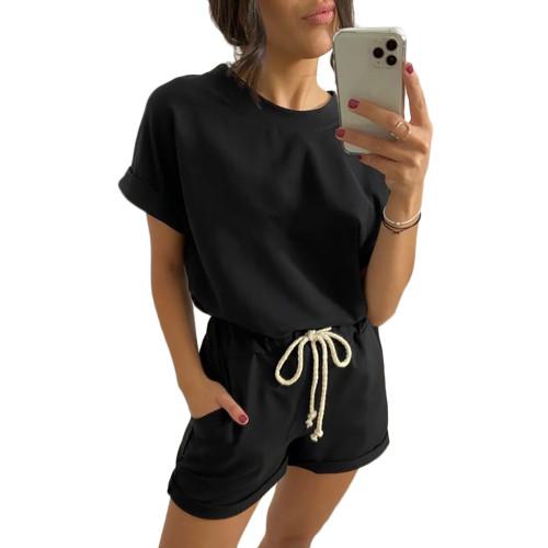 Black Cotton Blend Roll Up Sleeves Lounge Shorts Set TQK710328-2