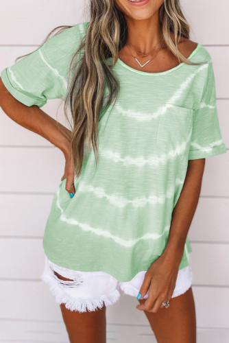 Green Tie-dye Stripes Print Top with Pocket LC2523975-9