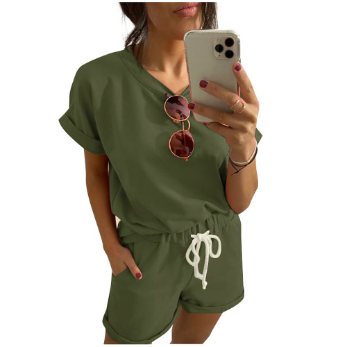 Army Green Cotton Blend Roll Up Sleeves Lounge Shorts Set TQK710328-27