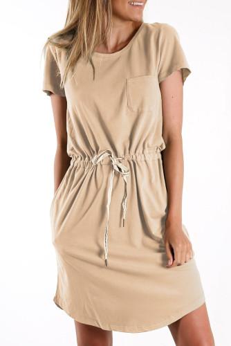 Khaki Pocketed Drawstring Waist Mini Dress LC224316-16