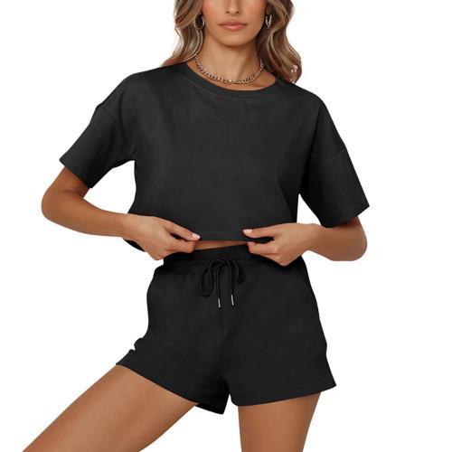 Black Short Sleeve Crop Top with Shorts Lounge Set TQK710327-2