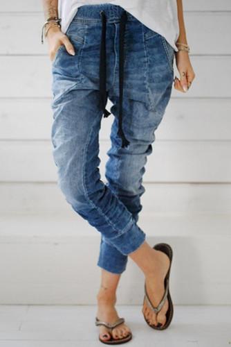 Light Blue Drawstring Elastic Waist Jogger Jeans LC782094-4