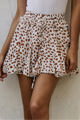 Apricot Printed Ruffled Hem A-Line Mini Skirt LC65567-18