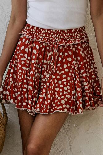 Red Printed Ruffled Hem A-Line Mini Skirt LC65567-3