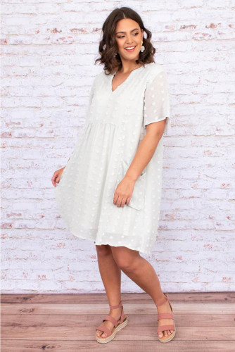 White V Neck Pompom Babydoll Style Short Sleeves Flowy Mini Dress LC223894-1