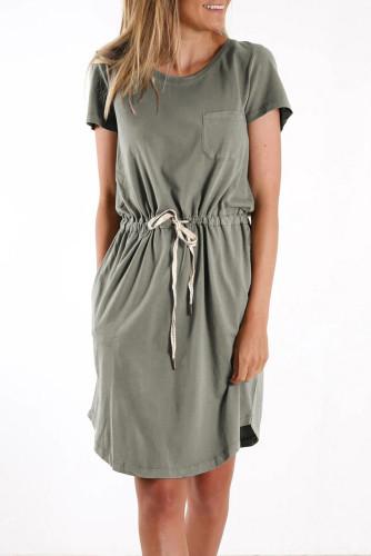 Green Pocketed Drawstring Waist Mini Dress LC224316-9
