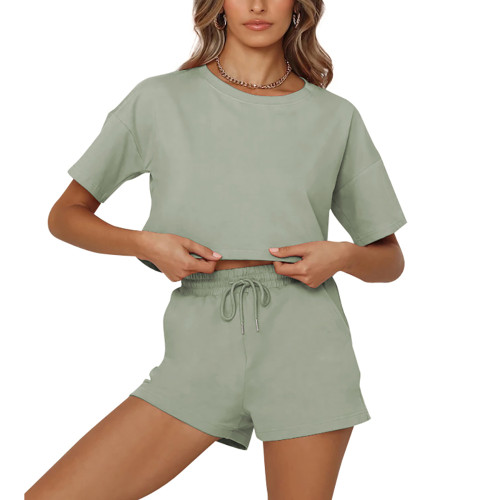 Pea Green Short Sleeve Crop Top with Shorts Lounge Set TQK710327-64