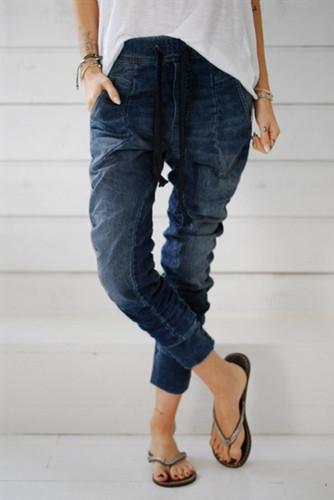 Dark Blue Drawstring Elastic Waist Jogger Jeans LC782094-5