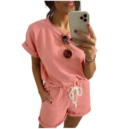 Pink Cotton Blend Roll Up Sleeves Lounge Shorts Set TQK710328-10