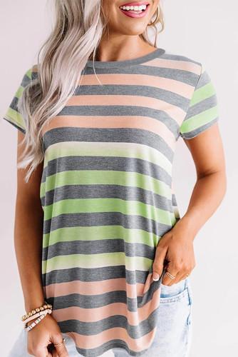 Green Orange Stripes Shift Short Sleeve Top LC2521215-11