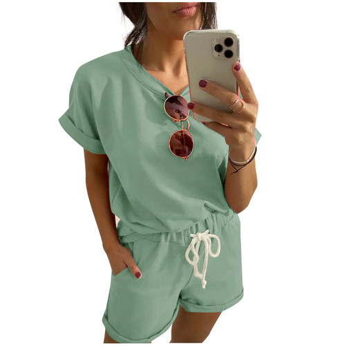 Pea Green Cotton Blend Roll Up Sleeves Lounge Shorts Set TQK710328-64