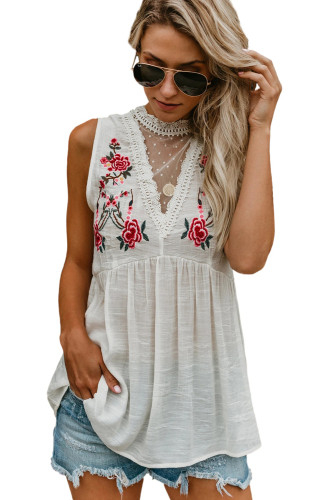 White Embroidered Crochet Babydoll Tank LC256805-1