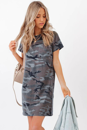 Cotton Blend Camo Print T-shirt Mini Dress LC225389-9