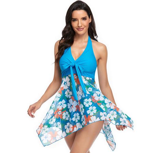 Light Blue Floral Print Asymmetric Hem Halter Swimdress with Panty TQK610213-30