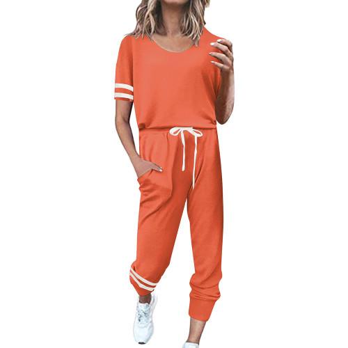 Orange Contrast Stripe Short Sleeve Top and Pant Set TQK710329-14