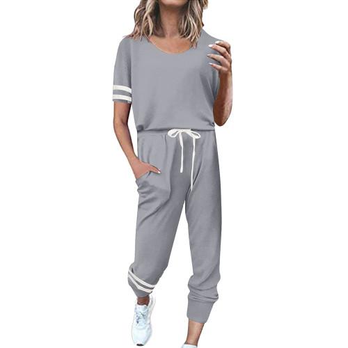 Light Gray Contrast Stripe Short Sleeve Top and Pant Set TQK710329-25