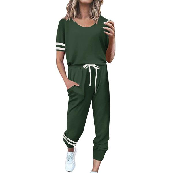 Dark Green Contrast Stripe Short Sleeve Top and Pant Set TQK710329-36