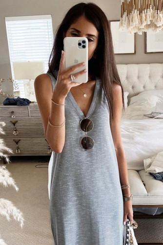 Gray V-Neck Sleeveless Loose Fit Maxi Dress LC614111-11