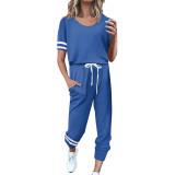 Blue Contrast Stripe Short Sleeve Top and Pant Set TQK710329-5