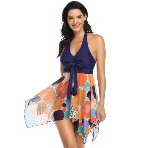 Multicolor Digital Print Asymmetric Hem Halter Swimdress with Panty TQK610213-29