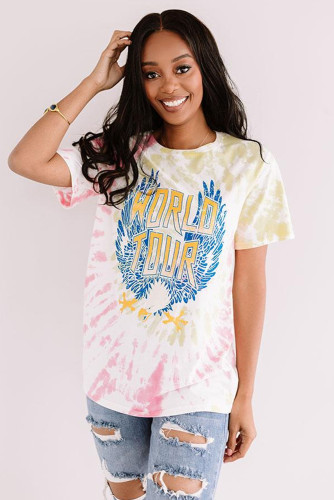 Pink WORLD TOUR Tie-dye Print Tee LC2524510-10
