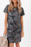 Cotton Blend Camo Print T-shirt Mini Dress LC225389-9