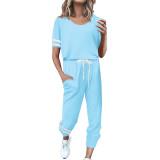 Light Blue Contrast Stripe Short Sleeve Top and Pant Set TQK710329-30